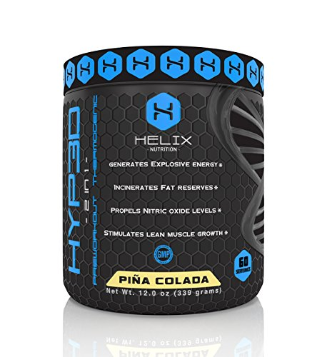 Hyp3d Pina Colada: The World's First 2-in-1 Clinically Dosed, Creatine-free, Non Water-retaining Pre Workout & Thermogenic. Experience the Rush, Pump, Strength, and Fat Loss. Money Back.