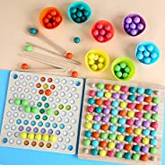 4 in 1 Sorting Stacking Toys, Montessori Toys for Preschool Math Educational, Wooden Eliminate Beads Board Gam