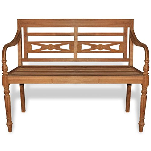 Festnight Outdoor Garden Wood Bench with 2 Seats Teak Batavia 47.2