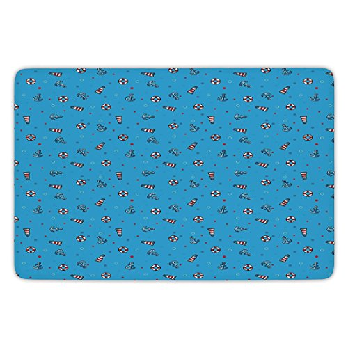 Bathroom Bath Rug Kitchen Floor Mat Carpet,Lighthouse,Polka Dotted Background Life Buoys Anchored Abstract Marine Vintage Nautical Decorative,Blue Red White,Flannel Microfiber Non-slip Soft Absorbent -