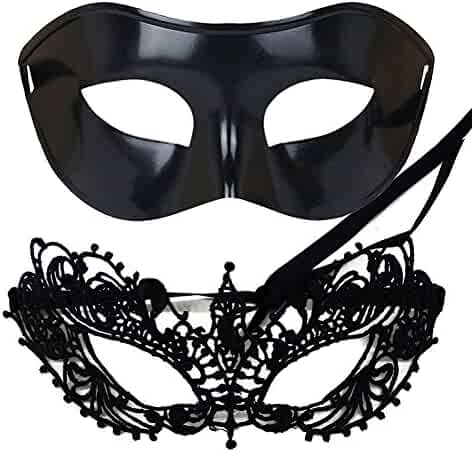 1c9dc9a0c2599 IDOXE US Size Masquerade Mask for Couples Venetian Halloween Costume Ana Lace  Masks Women's Mens Adults