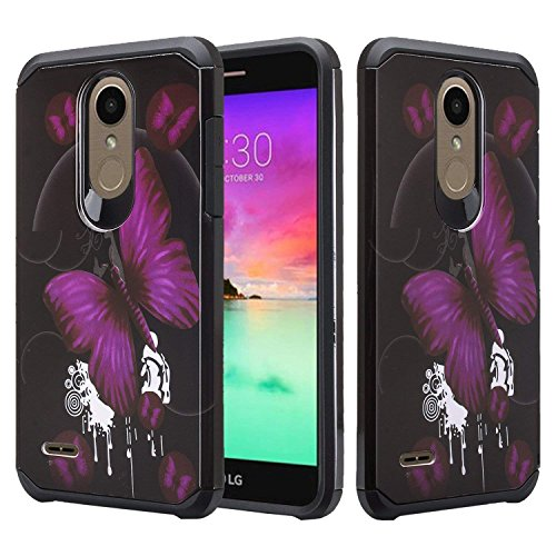 - SOGA Compatible for LG Stylo 4 Case, LG Q Stylus Case, Hybrid Dual Layer Astro Armor Smooth Protective Case (Purple Butterfly)