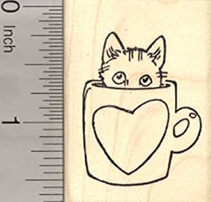 Valentine's Day Cat Rubber Stamp, in Coffee Mug with Heart