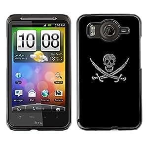 HTC Desire HD / inspire 4G / G10, Radio-Star - Cáscara Funda Case Caso De Plástico (Pirate Skull & Swords)