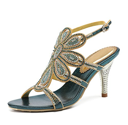Sandals Dress Rhinestones Honeystore Blue Shoes Stiletto Pumps Heels Women's Flower rEqwqfY0