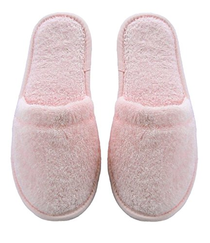 Arus Womens Turkish Organic Terry Cotton Cloth Spa Slippers One Size Fits Most, Pink with Black Sole