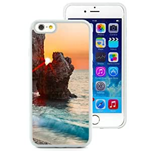 NEW Unique Custom Designed iPhone 6 4.7 Inch TPU Phone Case With Sun Behind Rocks Clear Blue Sea_White Phone Case