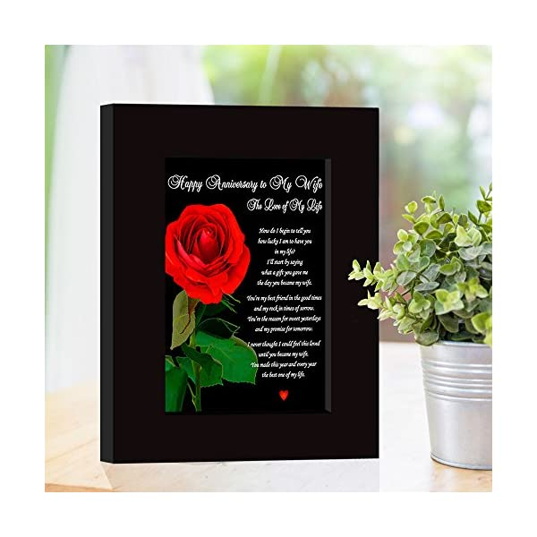 """Happy Anniversary To My Wife/""""The Love of My Life/"""" Love Poem Card in Black Frame"""