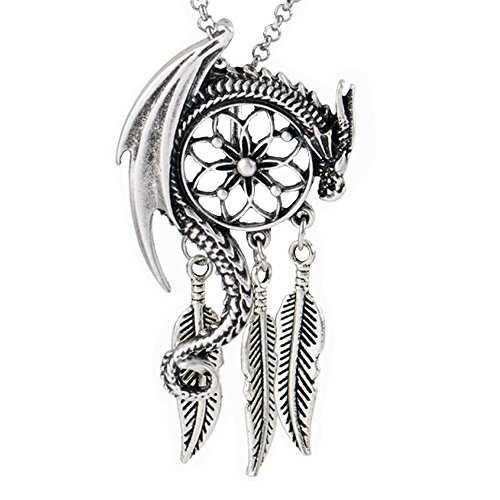 Paw Paw House Dragon Dream Catcher Pendant Necklace Norse Viking Snake Ouroboros Talisman Pagan Wicca Spiritual Jewelry (4021) ()