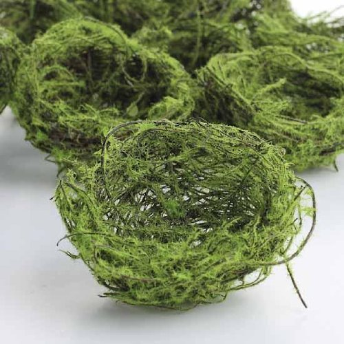 Package of 12 Twig Bird Nests with Faux Moss