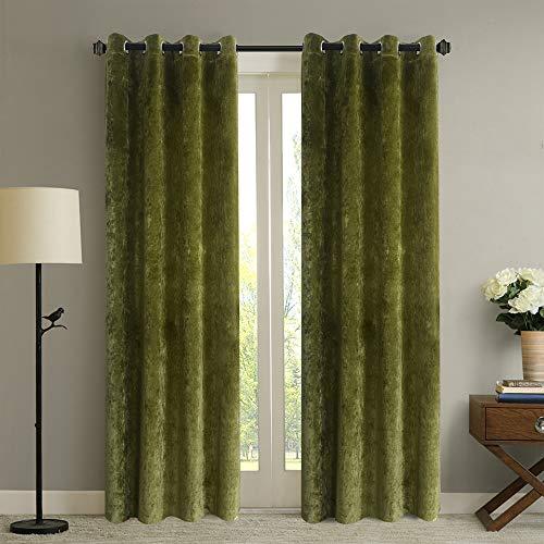 Roslynwood Luxury Deep Green Velvet Room Darkening Blackout Grommet Curtain Panel Drapes Drapery Theater| Bedroom| Living Room| Hotel 52WX96L (2 Panels)