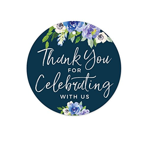 e Hydrangea Floral Garden Party Wedding Collection, Round Circle Gift Tags, Thank You for Celebrating With Us, 24-Pack (Blue Hydrangea Sticker)