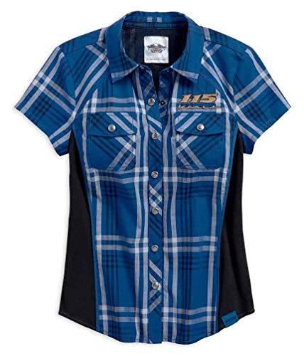 - Harley-Davidson Women's 115th Anniversary Plaid Shirt, Blue 99046-18VW (XL)