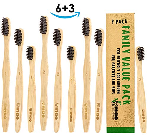 Mao Bamboo Toothbrushes Set (9 Pack for Your Family) 3 Sizes Individually Numbered Perfect for Kids and Adults | Eco Sustainable Charcoal Infused Medium-Soft Bristles | Natural and Organic Wood Handle -
