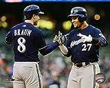 "Ryan Braun & Carlos Gomez Milwaukee Brewers 2015 MLB Action Photo (Size: 8"" x 10"")"