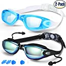 Swim Goggles, Pack of 2, Swimming Goggles for Adult Men Women Youth Kids Child, Triathlon Equipment, with Mirrored & Clear Anti-Fog, Waterproof, UV 400 Protection Lenses, Made by COOLOO