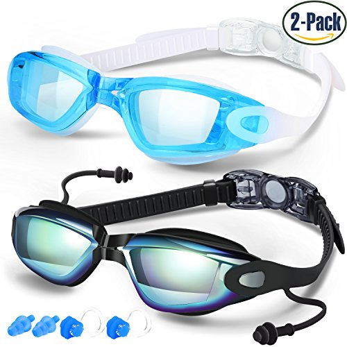 Swim Goggles, Pack of 2, Swimming Goggles for Adult Men Women Youth Kids Child, Triathlon Equipment, with Mirrored & Clear Anti-Fog, Waterproof, UV 400 Protection Lenses, Made by - Contact Lenses Of Made Glass
