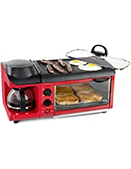 Nostalgia BSET300RETRORED Retro 3-in-1 Family Size Breakfast Station