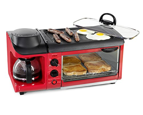 Coffee Breakfast Set - Nostalgia BSET300RETRORED Retro 3-in-1 Family Size Breakfast Station
