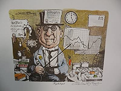 "Art print Charles Bragg Color Lithograph ""Psychologist Duotone"" Hand Signed new"