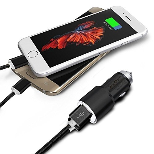 I 705 Usb Cable - I-Sonite (Black) Dual Port USB Full Aluminium Cased Car Charger Adaptor (3.1A/24W) With Safety Hammer & 2 x 1 Meter Micro USB Nylon Braided Data Transfer Charging Sync Cable For Coolpad Cool 2