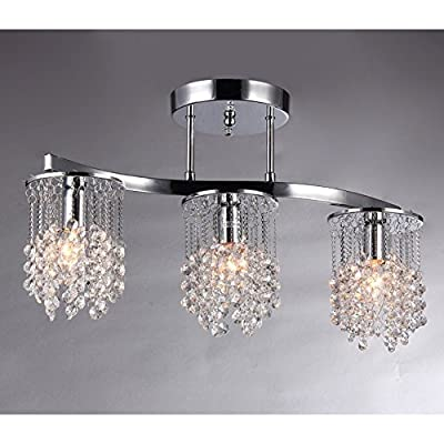 """Whse of Tiffany 6719/3 Clee 3-Light Chrome 20"""" Crystal Chandelier"""