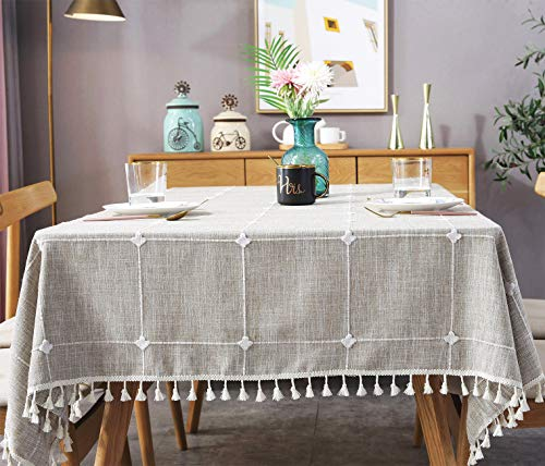 fiercewolf Linen Rectangle Tablecloth Tassel Table Cloth Heavy Weight Cotton Fabric Dust-Proof Table Cover Kitchen Dinning, Rectangle/Oblong, 55 x 78 Inch, Plaid -