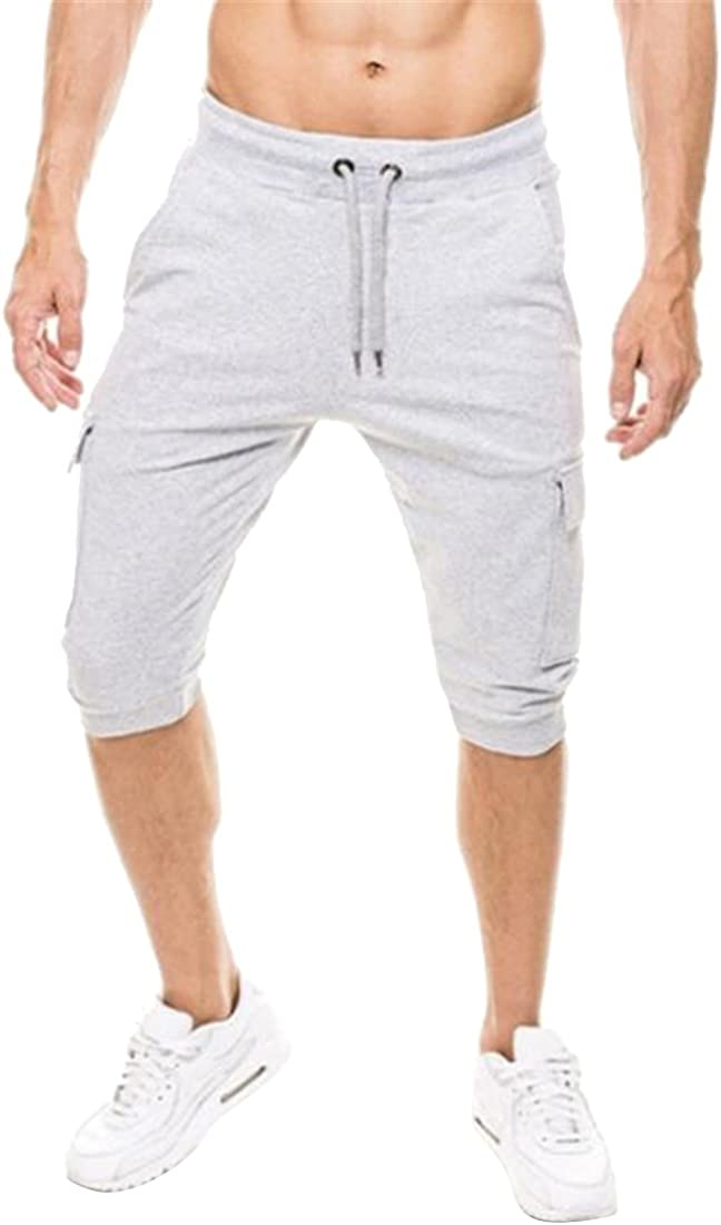 MMCP-Men Casual Active Multi Pockets Gym Workout Short Cargo Jogger Pants Sweatpants