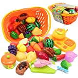 AMOSTING Kids Pretend Food Play Kitchen Toys for Kids, Plastic Food Fruit Cutting Set for Kids Play Kitchen Set, 20 Piece Learning Resources Play Food for Kids Kitchen Play Food Educational Toys