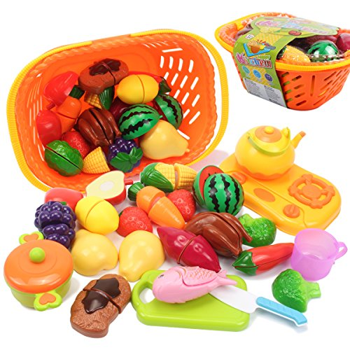 Cutting Food Set (AMOSTING Pretend Food Kitchen Play Set for Kids Cutting Fruits and Vegetables Play Food Kitchen Toys 20 Piece Educational Toy)