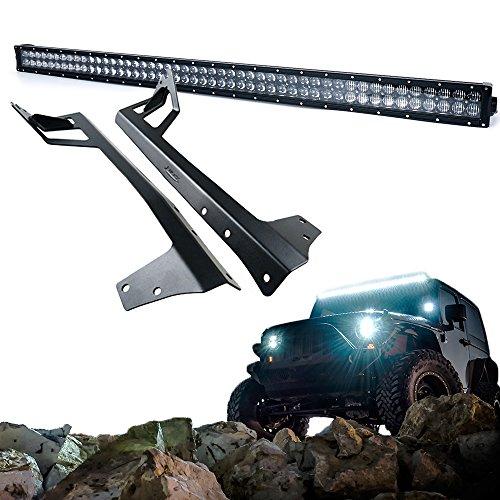 Nova Windshield (Xprite Super Nova 5D 288W 50 Inch LED Work Light Bar & Windshield Mounting Bracket Kit For 2007 - 2017 Jeep Wrangler)