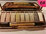 Mf Cosmetic 9 Colors Diamond Bright Colorful Makeup Eye Shadow Set Flash Glitter Eyeshadow Palette with Brush (#6)
