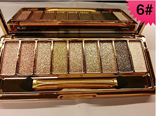 Mf Cosmetic 9 Colors Diamond Bright Colorful Makeup Eye Shadow Set Flash Glitter Eyeshadow Palette with Brush (#6)]()