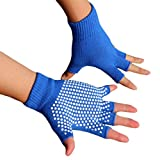 Cheap Women Gym Body Building Training Sport No-slip Yoga Pilates Gloves Workout (blue)