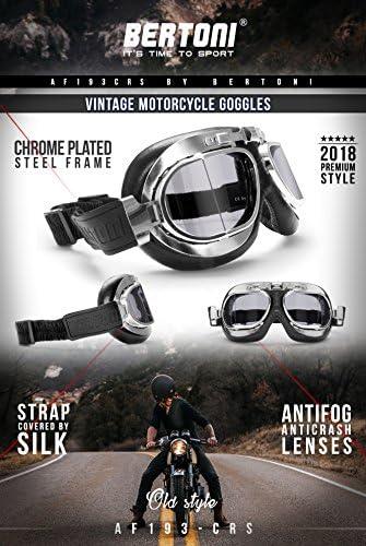 Perfil de Acero Cromado by Bertoni Italy AF193CRB Marron Gafas para Cascos Moto Vintage Aviador para Harley y Chopper Gafas Motoristas Lentes Antivaho y Antichoque