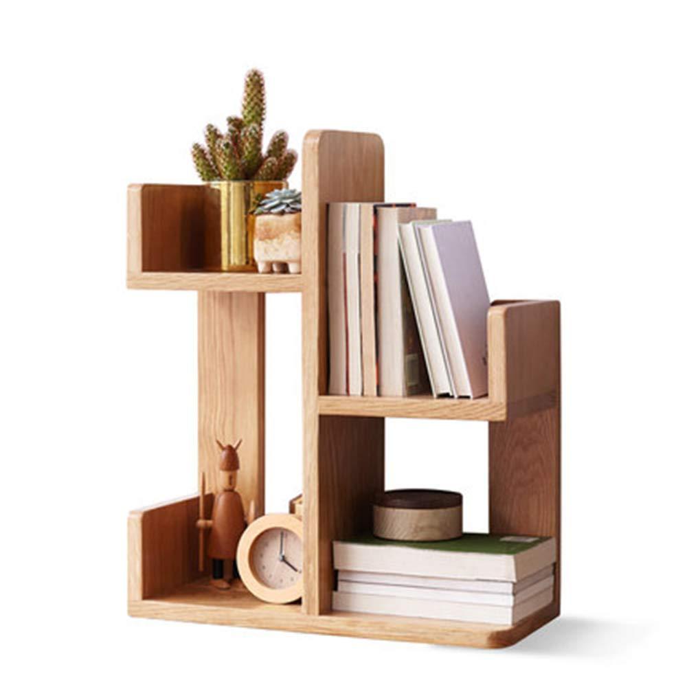 NBRTT Wood Desktop Bookshelf Counter Top Bookcase, Natural Multi-Function Four-Grid Storage Function, Display Shelf Rack for Office Supplies, Kitchen,Bathroom by NBRTT