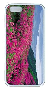 iPhone 5S Customized Unique Landscape Flowers Pink Wildflowers New Fashion TPU White iPhone 5/5S Cases