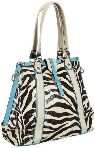 Poodlebags Funkyline - Exotic Remix - Darling Plum - zebra petrol 3FL0313DARLZ, Borsa a spalla donna 40x35x18 cm (L x A x P) Multicolore (Mehrfarbig (Zebra / Petrol))