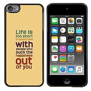 "Planetar® ( La vida es demasiado corta melocotón del trullo rojo púrpura"" ) iPod Touch 6 Fundas Cover Cubre Hard Case Cover"