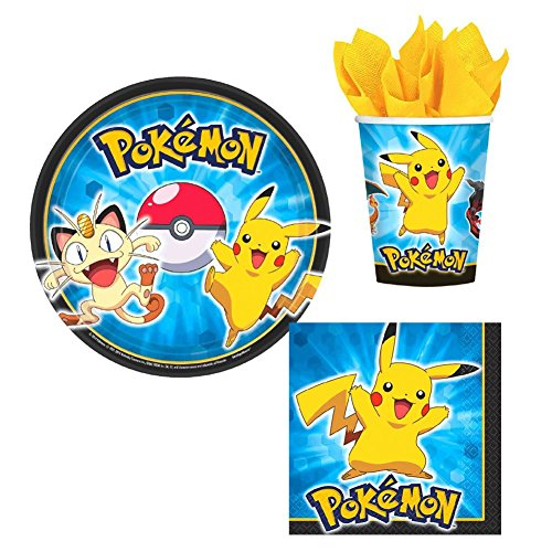 Designware Pokemon Pikachu & Friends Birthday Party Supplies Set Plates Napkins Cups Kit for 16 -