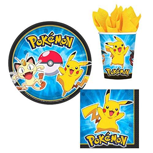 Designware Pokemon Pikachu & Friends Birthday Party Supplies Set Plates Napkins Cups Kit for 16