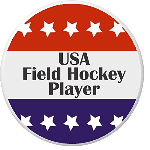 "USA Field Hockey Player Red White Blue Stars 2.25"" Large Pinback Button (Field Hockey Pin)"