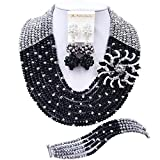laanc Fashion 10 Row Black and Sliver Nigerian Birthday African Beads Jewelry Sets Bracelet A031D