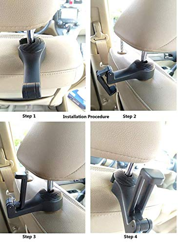 Vehicle Universal car Back Seat Headrest Hook Hanger with Cellphone Holder for Hanging Bag Headrest Hooks Purse Cloth Black -4Pack best starloop Grocery
