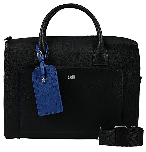 Roberto Cavalli Class Black Man Leather Briefcase for Mens