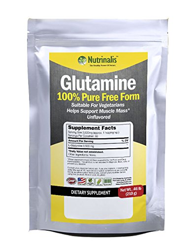Cheap Glutamine Powder 100% Pure Free Form, 3,500 mg per serving, Supports Muscle Mass & Immune Function, Completely Flavorless, Suitable For Vegetarians, MADE IN THE USA