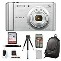 Sony Cyber-shot DSC-W800 Point and Shoot Digital Still Camera (Silver) + Camera Case + Sony 32GB Memory Card + All in One High Speed Card Reader + Rechargeable Battery + Accessory Kit