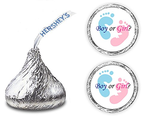 324 Gender Reveal Footprints Kisses Labels For Baby Shower Or Baby Sprinkle Party Or Event, Stickers, Wrappers, Favors (pink, blue)]()