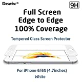 iPhone 6S Screen Protector, iPhone 6 Screen Protector, Daswise 2015 Full Screen Anti-scratch Tempered Glass Protectors with Curved Edge, Cover Edge-to-Edge, Protect Your 4.7 Inches Silver/Gold/Rose Gold iPhone 6/6S Screens from Drops & Impacts, HD Clear, Bubble-free Shockproof [3D Touch Compatible] (4.7 White)