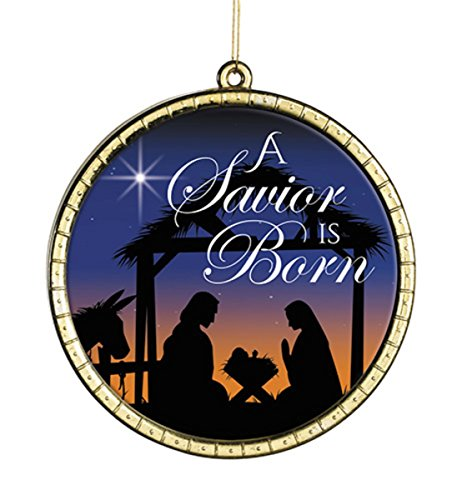 A Savior is Born Round Glass Christmas Ornament, 2 3/4 Inch, Pack of 6 by Christmas Begins with Christ Collection